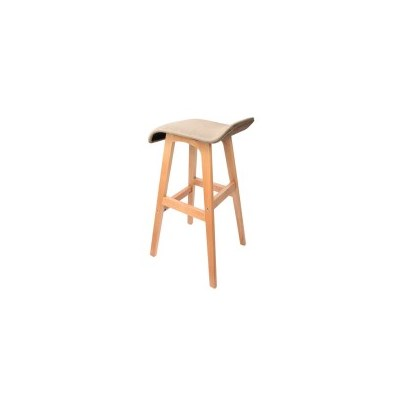 2x S Curve Fabric Beech Wood Bar Stool Tan 74cm