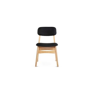 2x Replica Ari Wood & Fabric Dining Chairs in Black