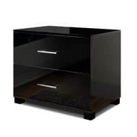 Contemporary 2 Drawer Bedside Table in Glossy Black