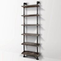 Rustic Industrial 6 Level Metal Pipe Wall Shelf