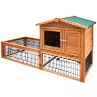 Double Storey Pet Hutch with Under Run in Green