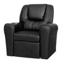 Kids PU Leather Recliner Chair w Cup Holder Black