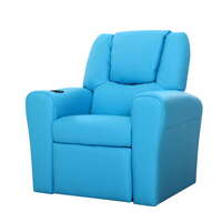 Kids PU Leather Recliner Chair w Cup Holder Blue