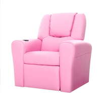 Kids PU Leather Recliner Chair w Cup Holder Pink