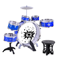 8 Piece Kids Blue Drums Play Set w/ Seat & Sticks