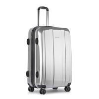 4 Wheel Hard Travel Luggage Suitcase in Silver 28in