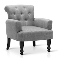 French Provincial Linen Upholstered Armchair Grey
