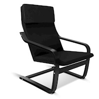 Birch Bentwood & Fabric Lounge Armchair in Black