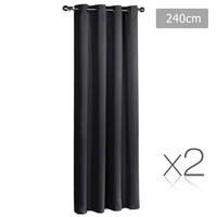 2x Artqueen Eyelet Blockout Curtains in Black 180cm