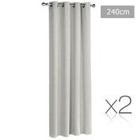 2x Artqueen Eyelet Blockout Curtains in Ecru 240cm