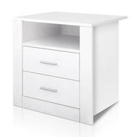 Anti-Scratch Bedside Table w/ 2 Drawers in White