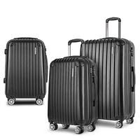 3 Size Hard Suitcase Travel Luggage Set in Black