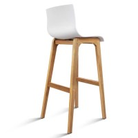 2x Plastic Bar Stools with Oak Wood Legs in White