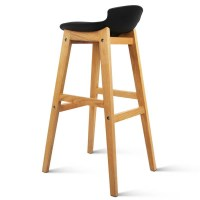 2x Black PU Leather Bar Stools with Low Back Rest
