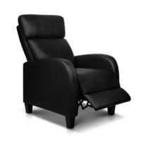 Faux Leather Adjustable Armchair Recliner in Black