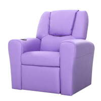 Kids Padded PU Leather Recliner Chair in Purple