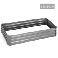 Galvanised Raised Garden Bed in White 150x90x30cm