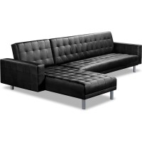 Convertible 5 Seater PU Leather Sofa Bed in Black