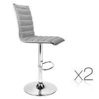 2x Stitched Fabric Bar Stools in Grey and Chrome