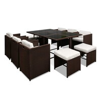 11pc Capetown Outdoor Dining Set in Brown PE Wicker