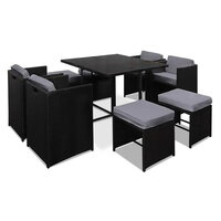 9pc Hawaii Outdoor Dining Set in Black PE Wicker
