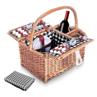 4 Person Picnic Basket Set with Blanket in Black