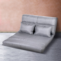 Adjustable Linen Fabric Floor Lounge Sofa in Grey