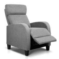 Adjustable Linen Fabric Armchair Recliner in Grey