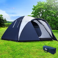 Weisshorn 4 Person Family Camping Dome Tent in Blue