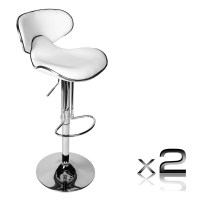2x Half Contour Gas Lift PU Leather Bar Stool White