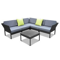 6pc Miami Modular Outdoor Lounge in Black PE Wicker