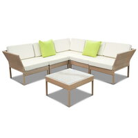 6pc Miami Modular Outdoor Lounge in Brown PE Wicker