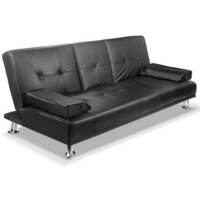 3 Seater PU Leather Sofa Bed with Cup Holders Black