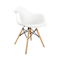 2x Eames DAW Replica Beech Wood Dining Chairs White