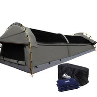 Double Camping Canvas Swag Tent w/ Air Pillow