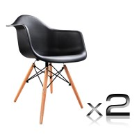 2 Replica Eames Cafe Chairs in Beech and Black