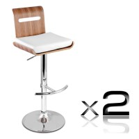 2x Niomi Wood PU Leather Gas Lift Bar Stool White