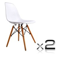 2 Replica Eames Eiffel DSW Dining Chairs in White
