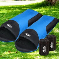 Double Camping Envelope Sleeping Bag Blue Black