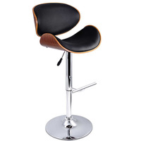 2x Wood Contour PU Leather Gas Lift Bar Stool Black