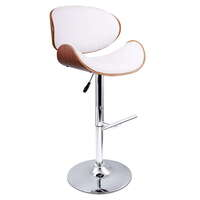 2x Wood Contour PU Leather Gas Lift Bar Stool White