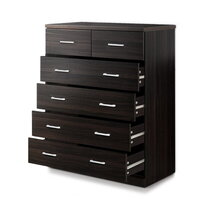 Tallboy Chest of 6 Drawers Storage Cabinet  Walnut