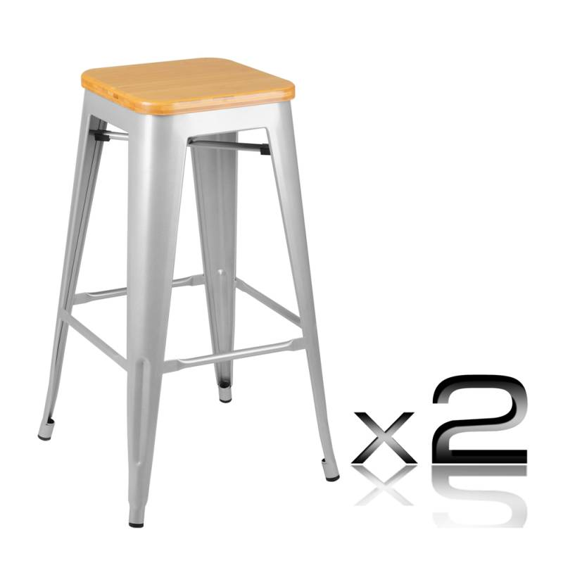 2x replica tolix steel wood bar stool 76cm buy furniture for Tolix stuhl replik
