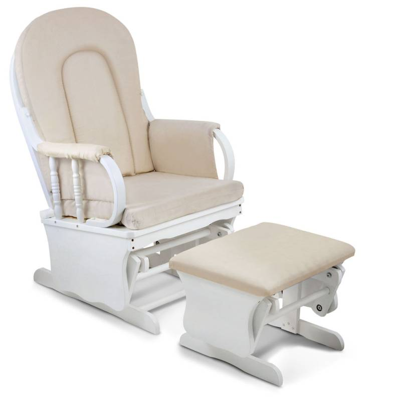 Breastfeeding Rocking Glider Chair w/ Ottoman White | Buy ...