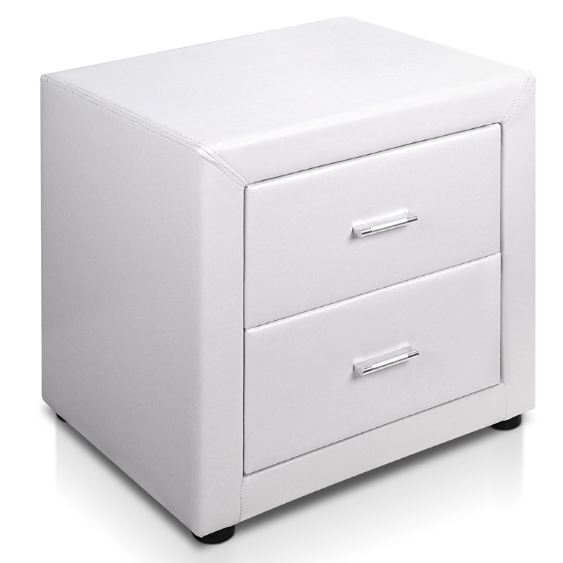 Deluxe pu leather 2 drawer bedside table in white buy for Buy white bedside table