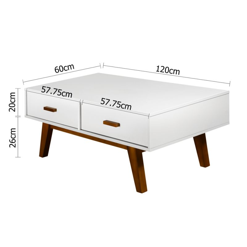 Retro White Coffee Table With 4 Drawer Storage Buy Tables