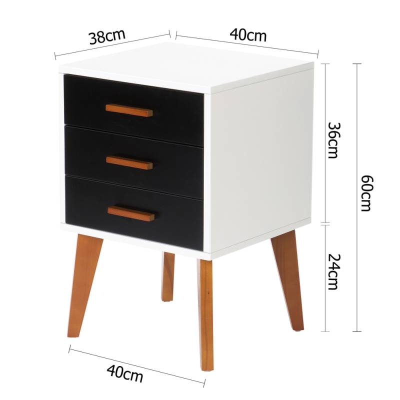 Bedside table storage cabinet in white and black buy for Buy white bedside table