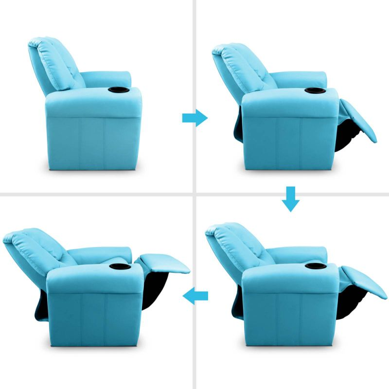 Kids Pu Leather Recliner Chair W Cup Holder Blue Buy