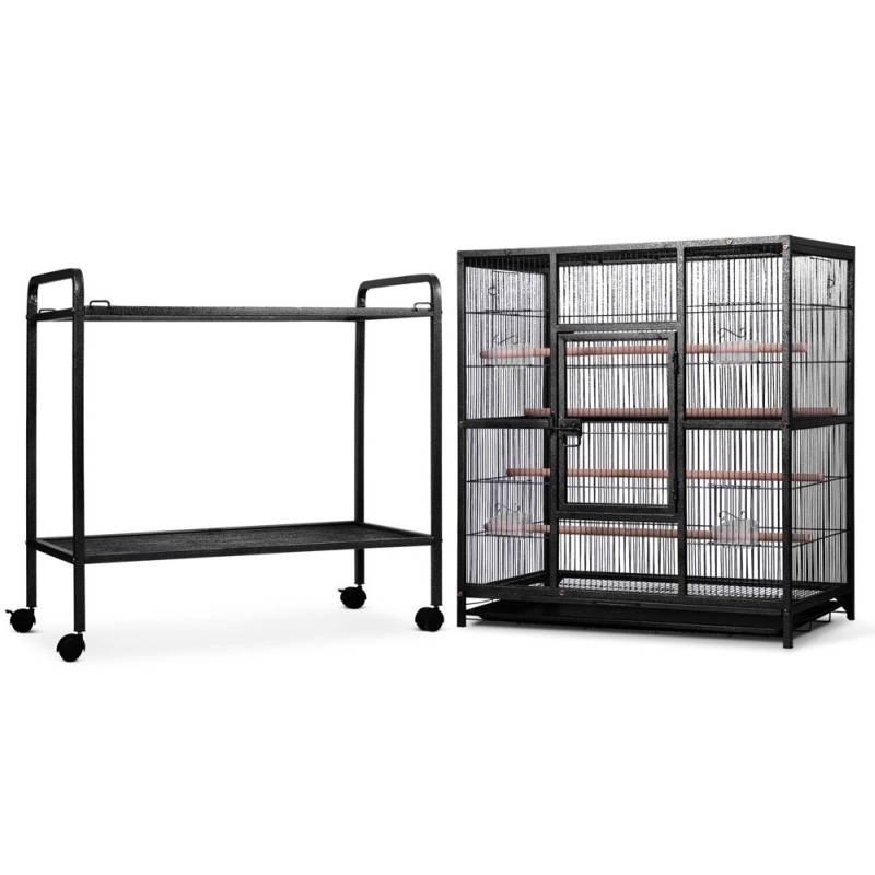 Large Iron Bird Cage On Wheeled Stand In Black Buy Specials