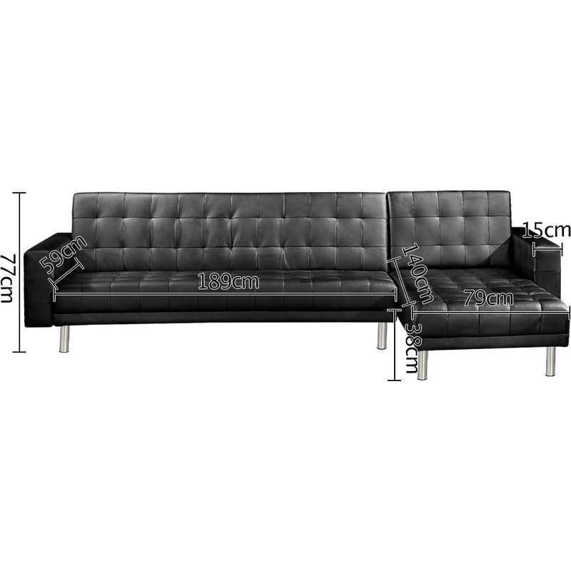 5 seater pu leather sofa bed with chaise black buy for Sofa bed 5 seater